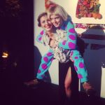 Bringing the piggy back, back at The Jeremy Scott party with my DJ friend Henri